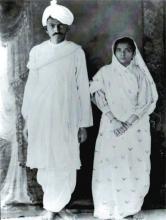 Jonge Gandhi en Kasturba